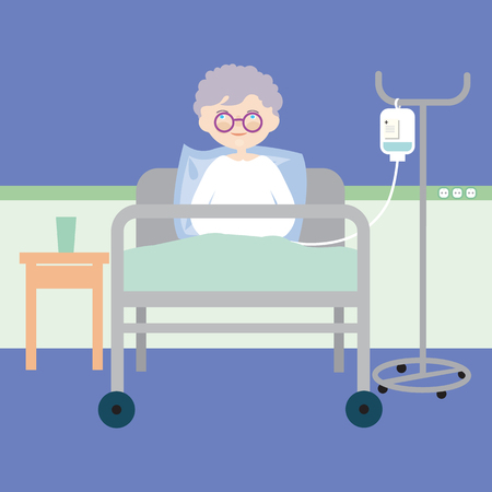 Old woman lying in bed at hospital and having an intravenous injection or artificial nutrition - vector