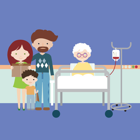Old woman or grandmother lying in hospital bed and having intravenous infusion of artificial nutrition, family with children and grandchildren on visit - vector Banque d'images - 126954050