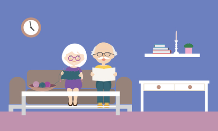 Flat design cartoon illustration of grandfather and grandmother sitting on sofa, reading newspaper and knitting sweater. With a purple wall with clock and a candleholder in the background. - vector Banque d'images - 126937948