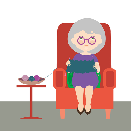Flat design cartoon illustration of an old woman or grandmother. Sitting in a red armchair and wearing a sweater. vector Banque d'images - 126826363