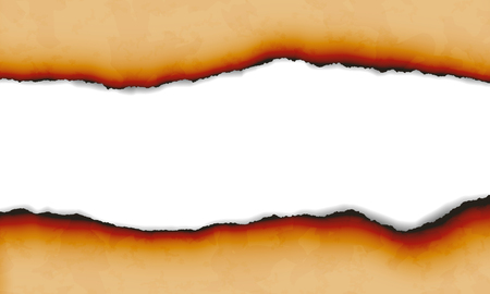 Illustration of burnt torn paper isolated on white background with space for text - vector Banque d'images - 126778563