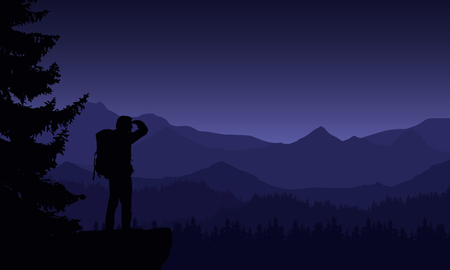 Illustration of night mountain landscape with coniferous forest and tourist under purple sky - vector Çizim