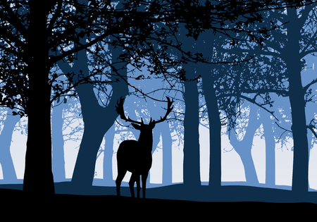 Illustration of silhouette of a deer with deciduous forest blue sky - vector Banque d'images - 126634481