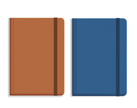 Set of realistic illustrations of leather diary, isolated on white background, with space for text - vector Banque d'images - 126626960