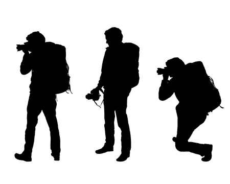 Set realistic silhouettes of three men tourist photographer with camera and backpack - Vector