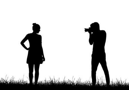 Realistic silhouette of a professional male photographer photographing a model woman in a dress on grass - vector Banque d'images - 126565365