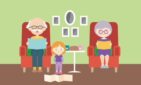Living room, grandmother and grandfather sitting on chair and reading grandchild from book - vector, flat cartoon Banque d'images - 126513530