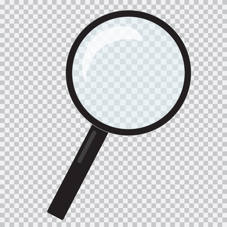 Flat design illustration with magnifying glass and black handle - transparent vector Vector Illustratie