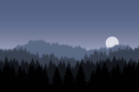 Realistic illustration of a night mountain landscape with coniferous forest and hill, under a gray blue sky with moon or sun - vector