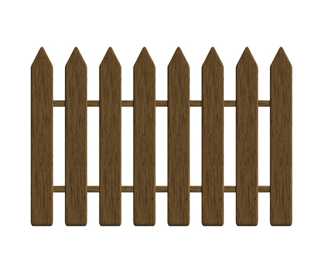 Realistic illustration of a wooden fence made of boards with textured wood, isolated on a white background - vector Banque d'images - 126472465