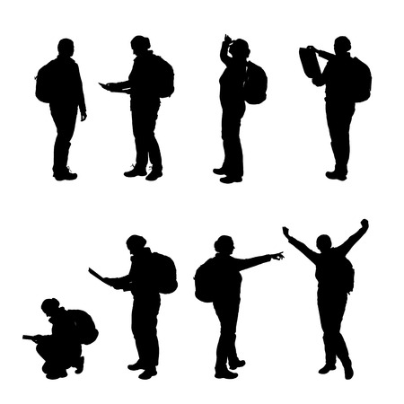 Set of realistic illustration of a silhouette of a female tourist with a backpack walking, standing and squatting - vector Banque d'images - 126434812