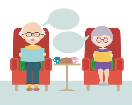 Flache Designkarikaturillustration des sitzenden Großvaters und der Großmutter oder des alten Mannes und der Frau mit Gedanken- oder Sprechblase - Vektor Vektorgrafik