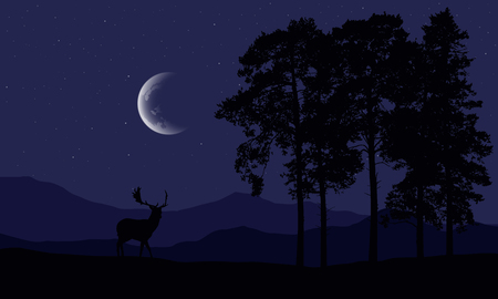 Realistic illustration of a deer silhouette in a mountain landscape with a forest and coniferous trees, under a purple night sky with stars and a crescent - vector Banque d'images - 126364921