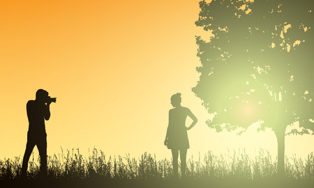 Realistic illustration silhouettes photographer men and women models in the landscape with forest, tree and grass under yellow morning sky with sunshine - vector Banque d'images - 126347535