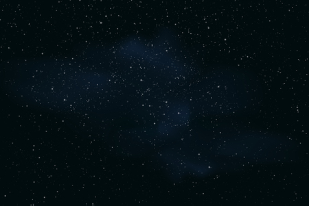 Realistic illustration of a dark night sky or space with stars and nebula - vector Ilustração
