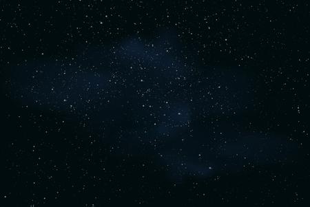Realistyczna ilustracja ciemnego nocnego nieba lub przestrzeni z gwiazdami i mgławicą - wektor