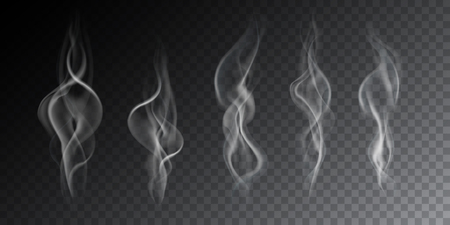 Realistic illustration of haze, cigarette smoke or steam over a hot drink, isolated on a transparent background - vector Banque d'images - 126236462