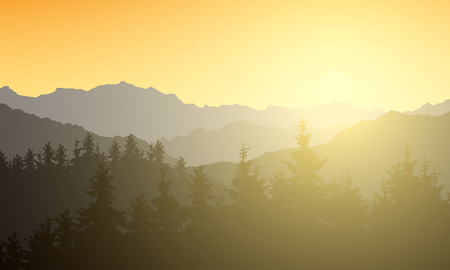 Realistic illustration of a mountain landscape with a forest. Sun shining with sunshine and rays under the morning yellow orange sky - vector Banque d'images - 126062311