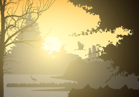 Realistic illustration of landscape and wetland with standing and flying bird and trees. Rising sun with beams on morning yellow orange sky - vector Banque d'images - 126062312
