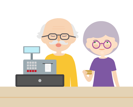 A couple of old people, man and woman paying a credit card at a cash desk - vector Banque d'images - 125984758