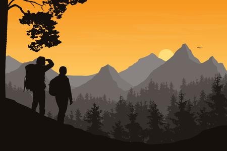 Illustration réaliste du paysage de montagne avec forêt et deux touristes, homme et femme. Ciel orange du matin avec soleil levant, nuages et oiseau volant - vecteur