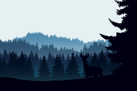 Realistic illustration of mountain landscape with coniferous forest and deer. Under the morning blue green sky - vector Banque d'images - 125843741