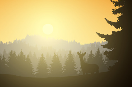 Realistic illustration of mountain landscape with coniferous forest and deer, under a morning yellow sky with sunshine - vector Banque d'images - 125738643