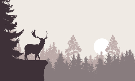 Realistic illustration of a mountain landscape with a forest with deer standing on a rock. Retro sky with rising sun or moon - vector