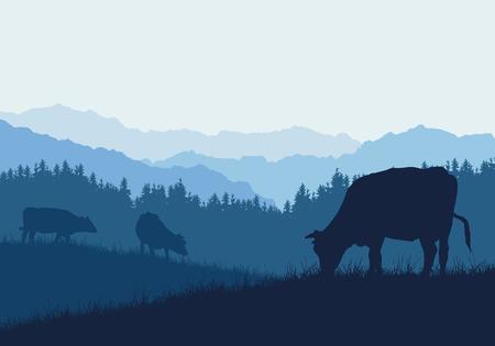 Realistische Illustration mit drei Silhouetten von Kühen auf Weide, Gras und Wald, unter blauem Himmel - Vektor Vektorgrafik