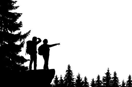 Realistic illustration of a silhouette of two tourists, men and women with backpacks. It stands on the bay in the mountains and looks into the valley of the forest. Vector