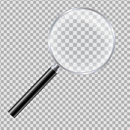 Realistic illustration of magnifying glass with reflection and black handle. Isolated on a transparent background - vector