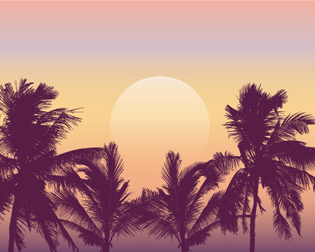 Realistic illustration of sunset over sea or ocean with palm trees. Orange, pink and yellow sky and space for text - vector Ilustração