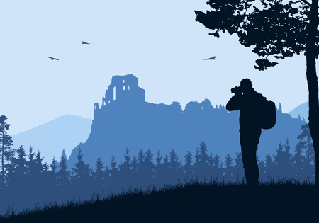 Realistic illustration with silhouette of old castle ruins in mountain landscape with forest. Tourist with backpack takes pictures by camera. Blue sky with birds. Vector Ilustración de vector