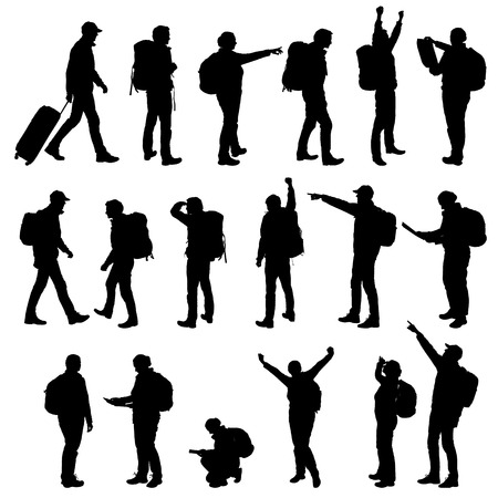 Set realistic silhouettes of tourists, men and women. Backpack on back, showing hands and rejoicing in success. - Vector