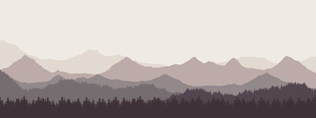 Widescreen realistic illustration of mountain landscape with forest and hills under retro gray sky and fog - vector suitable as banner