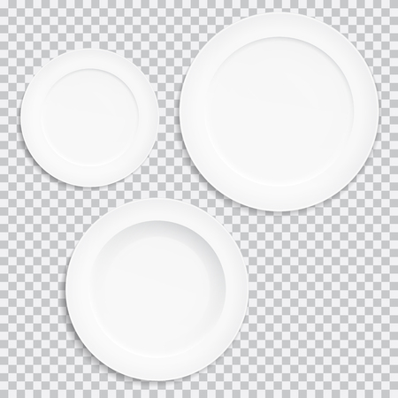Set of realistic white plates. Kitchen utensils isolated on transparent background - vector