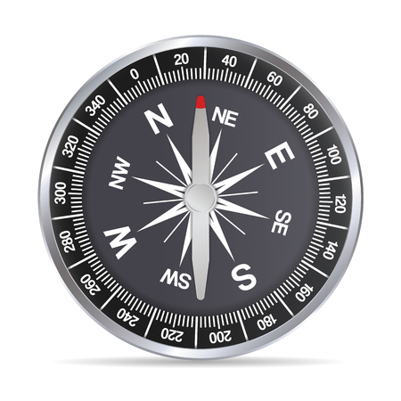 Realistic illustration of a silver aluminum compass made of metal with a red needle and a black background.