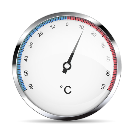 Realistic illustration of a metal round thermometer to measure degrees Celsius of cold and heat. Isolated on white background - vector