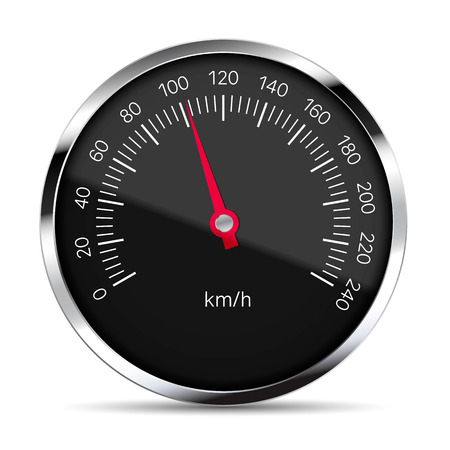 Realistic illustration of black speedometer with metal trim with glare and red pointer.Isolated on white background - vector