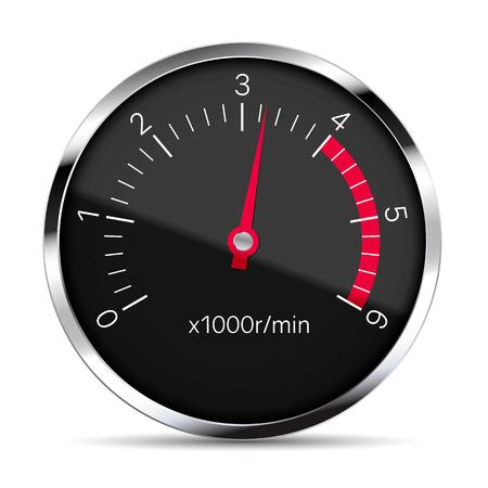 Realistische Darstellung eines schwarzen Drehzahlmessers mit Metallverkleidung mit Blendung und rotem Zeiger. Isoliert auf weißem Hintergrund - Vektor Vektorgrafik