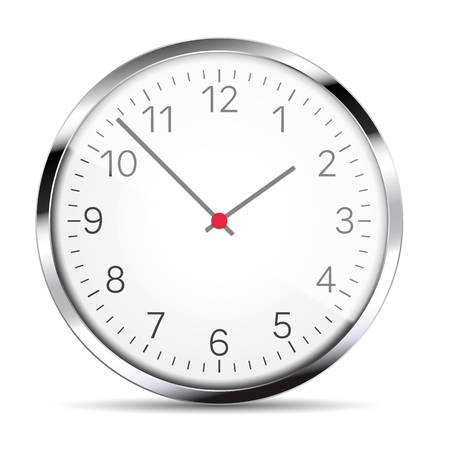 Realistic illustration of a wall clock with metal trim with reflections, hands and numbers. Isolated on white - vector