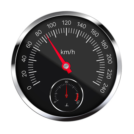Realistic illustration of black metal speedometer with reflections, red hand and white and numbers. Coolant Temperature Meter. Isolated on white - vector