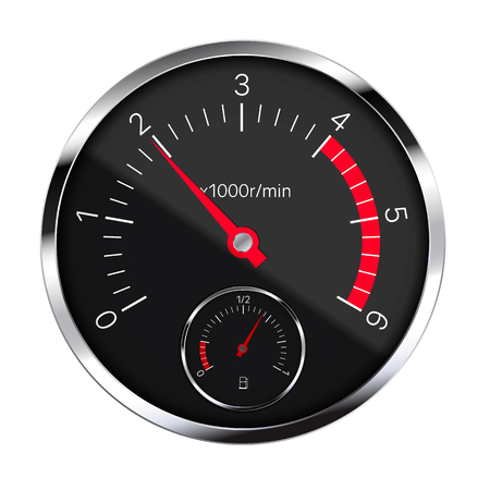 Realistic illustration of a black metal tachometer with reflections, red hand and white and numbers. Fuel gauge in the tank. Isolated on white - vector Vector Illustration