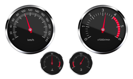 Realistic illustration of a set of black instruments dashboard car with round metal frames with reflections. Isolated on white background - vector