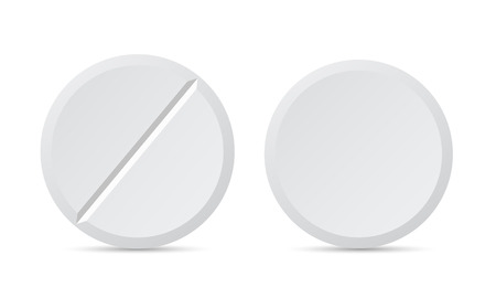 Realistic illustration of white round pills or drugs. Isolated on white background - vector