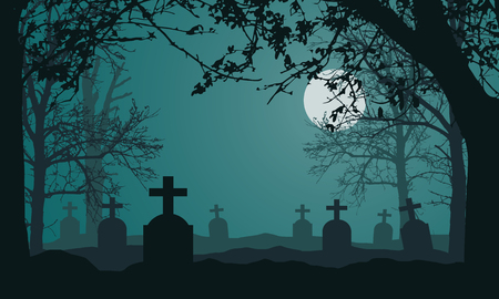 Realistic illustration of spooky landscape and forest with dead and dry trees, cemetery with tombstones and full moon on night green sky. Suitable as a card for Halloween - vector Banque d'images - 125369185