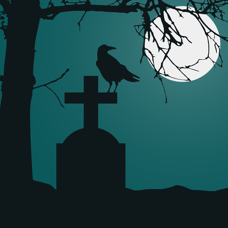 Realistic illustration of a tombstone in a cemetery with a sitting raven and a dry dead tree. Full moon on night green spooky sky - vector