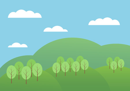 Flat design cartoon illustration of mountain landscape with hills and trees under blue sky with clouds - vector Banque d'images - 125369221