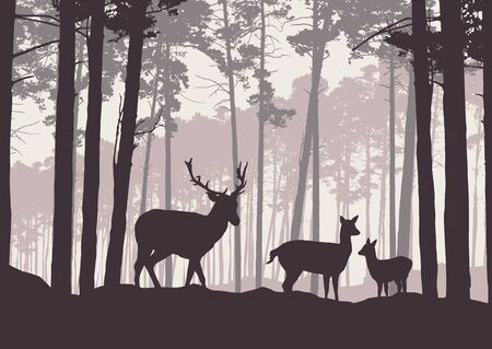 Realistic illustration of mountain landscape with coniferous forest under sky with haze. Deer, doe and little deer standing and looking into valley - retro vector Banque d'images - 125369230