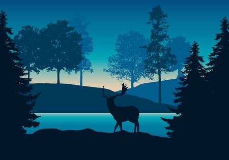 Realistic illustration of hilly landscape with forest, river or lake and standing deer under blue-green sky with dawn - vector Banque d'images - 125369305